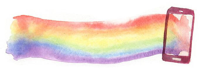 Ilustración de un celular con un arcoiris.