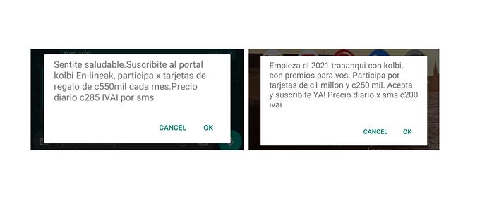 Dos mensajes que me obligan a aceptar o cancelar los servicios que ofrece Kolbi.