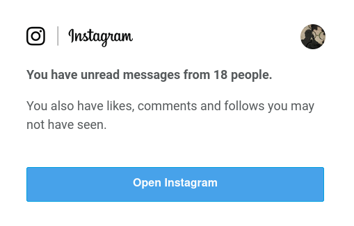 You have unread messages from 18 people.